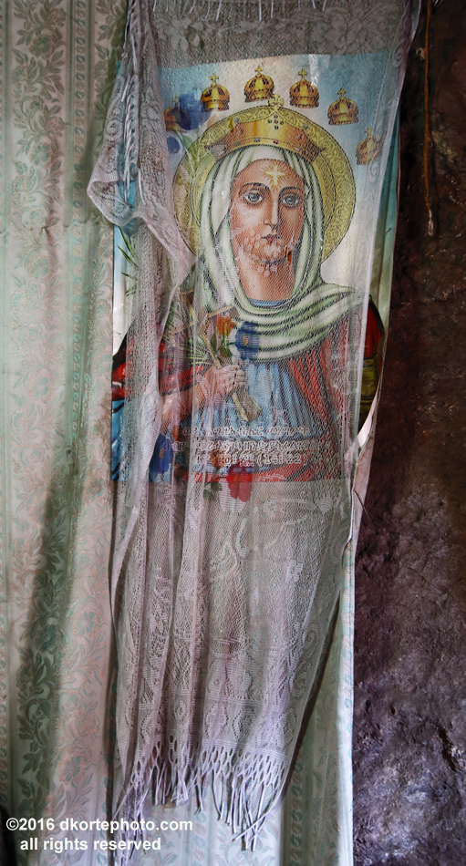 Covered painting, Lalibela. Many religious paintings are covered in fabric to protect their holiness from degradation.