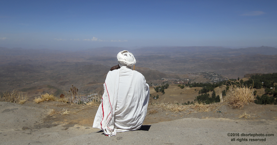 Hilltop meditation. The view from the mountain at Asheton Maryam Monastery serves well the contemplation of the universe.