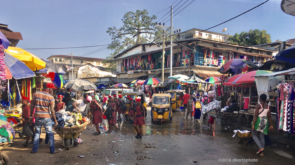 Waterside Market, stifling and congested, is one of the largest markets in Monrovia. Nearly anything and everything is for sale from shops, under umbrellas, or from roving street vendors.