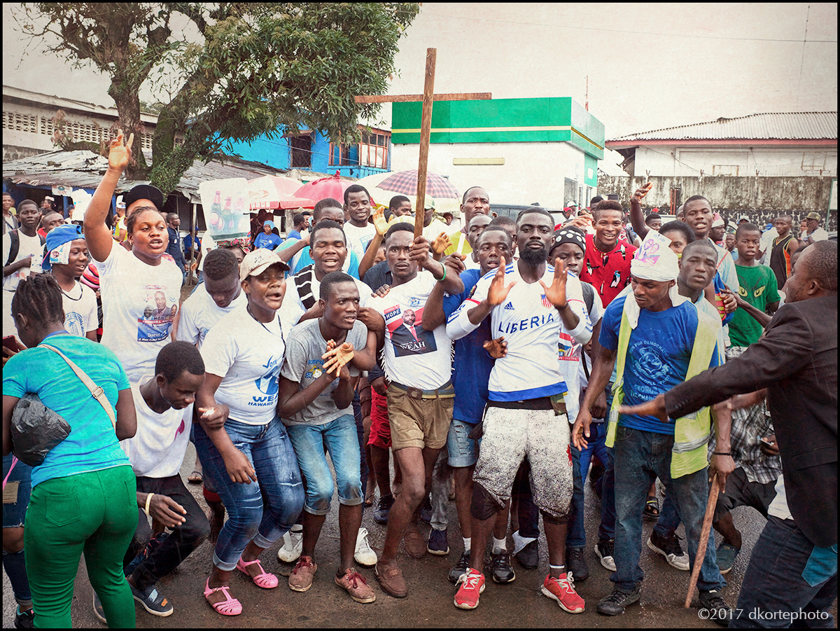 Weah supporters arrive at a rally point on U.N. Drive in Monrovia.