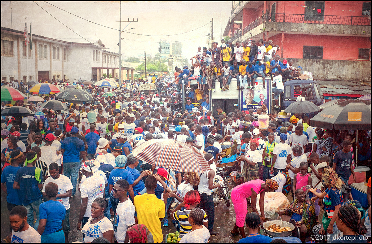Rain-soaked political rally in Monrovia brings together thousands of supporters for the CDC (Coalition for Democratic Change) Presidential candidate George Weah.