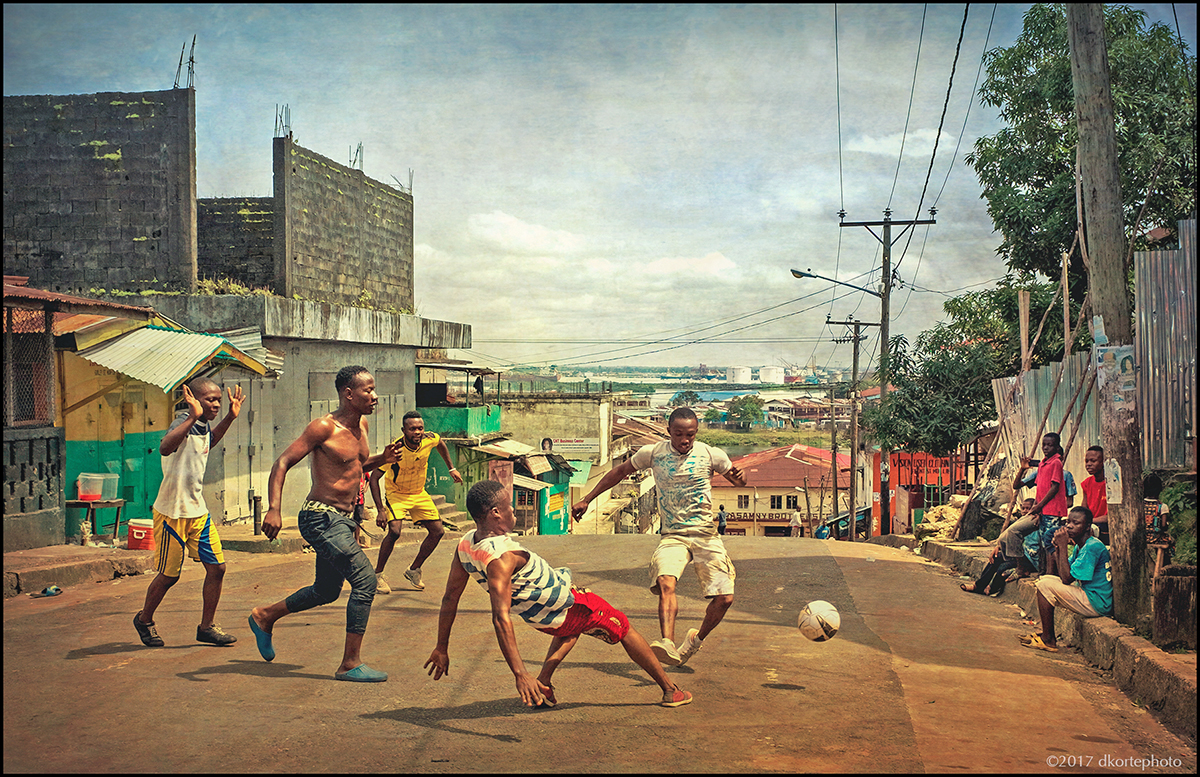 Football in the streets of Monrovia.