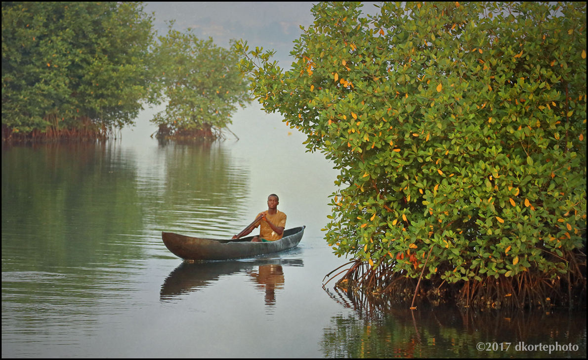 A wooden canoe passes among mangroves bordering 12th Street Island.