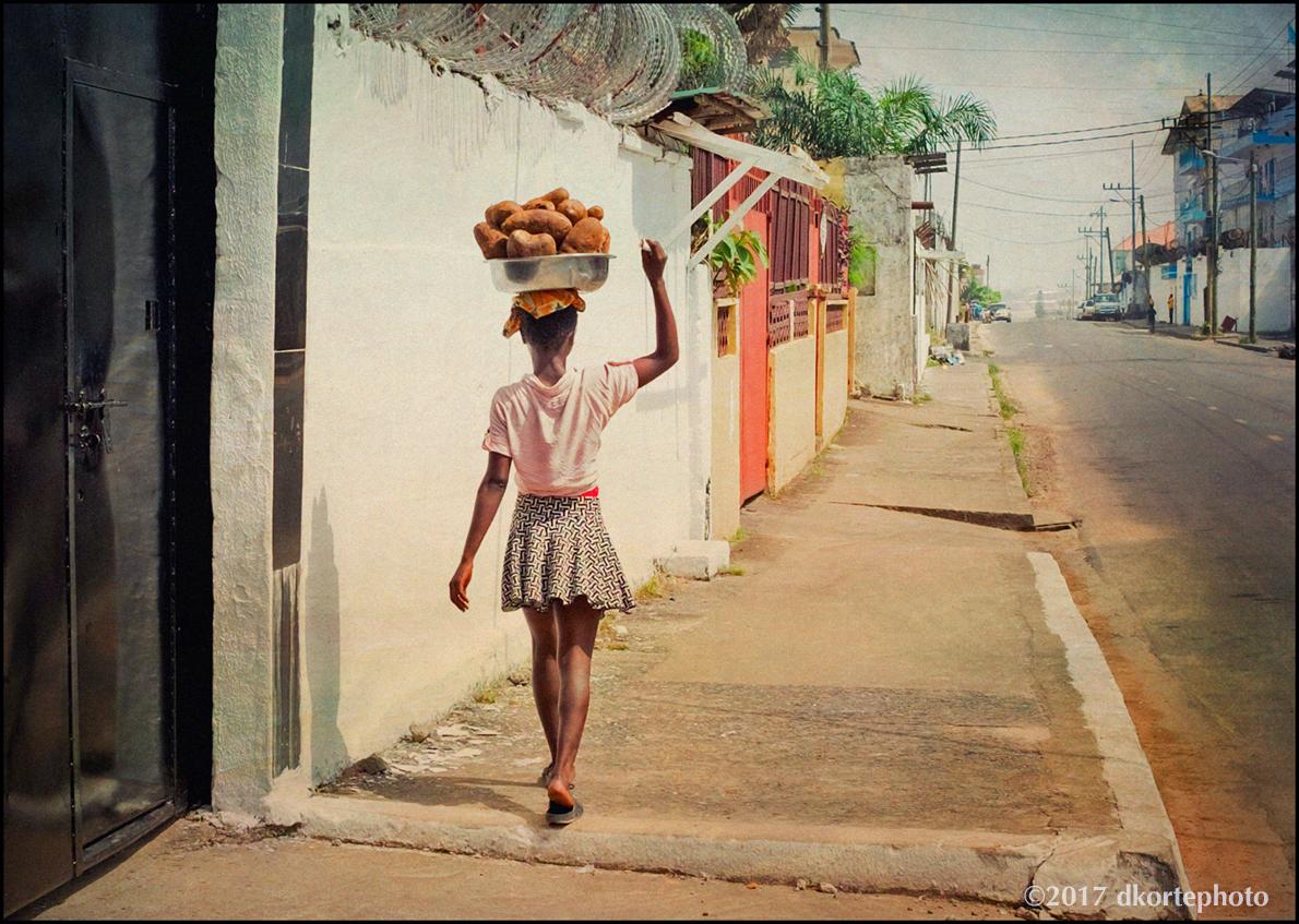 Bush Yams to sell. Sekou Toure Avenue, Mamba Point, Monrovia.